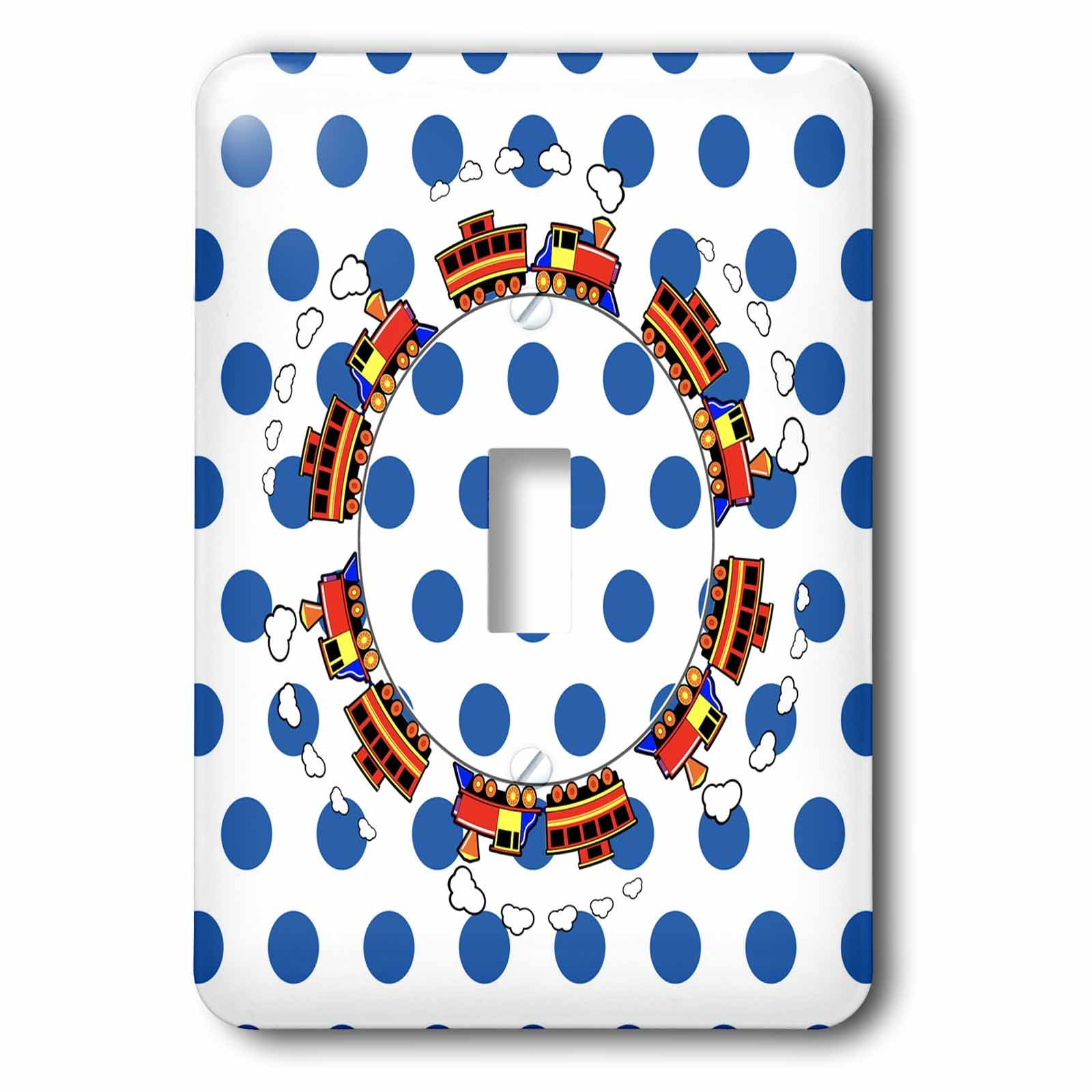 3dRose Childrens Art - Image of Choo Choo Goes Round and Round On Blue Dots - Light Switch Covers - single toggle switch (lsp_281575_1)