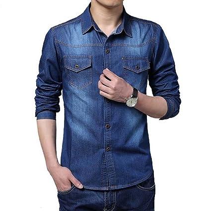 Amazon Com Cotton Slim Fit Brand Denim Shirts Long Sleeve Blue Gray