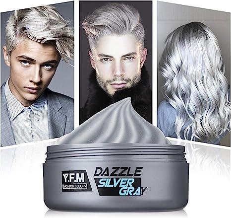 YFM Tinte de Pelo Gris Cera Cabello Para Pelo Gris Plata, Crema Para Colorante Pelo Temporal, Silver Gray Hair Color 120 ml