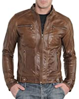 Best Seller Leather Men's Motorcycle Leather Jacket Brown