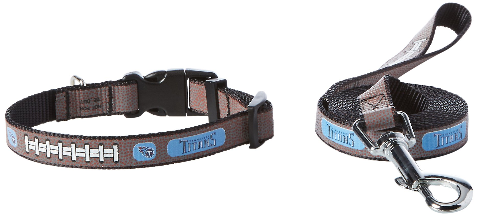 GameWear NFL Tennessee Titans Reflective Toy Football Collar & Small Leash Gift Pack, One Size, Brown