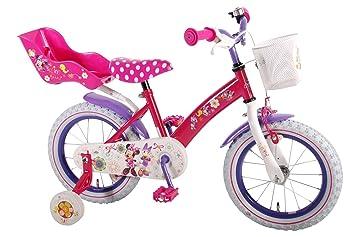 14 pulgadas Disney - Bicicleta infantil niña Bow de Minnie Mouse bicicleta con cesta ruedas y contrapedal a 95% montado: Amazon.es: Deportes y aire libre