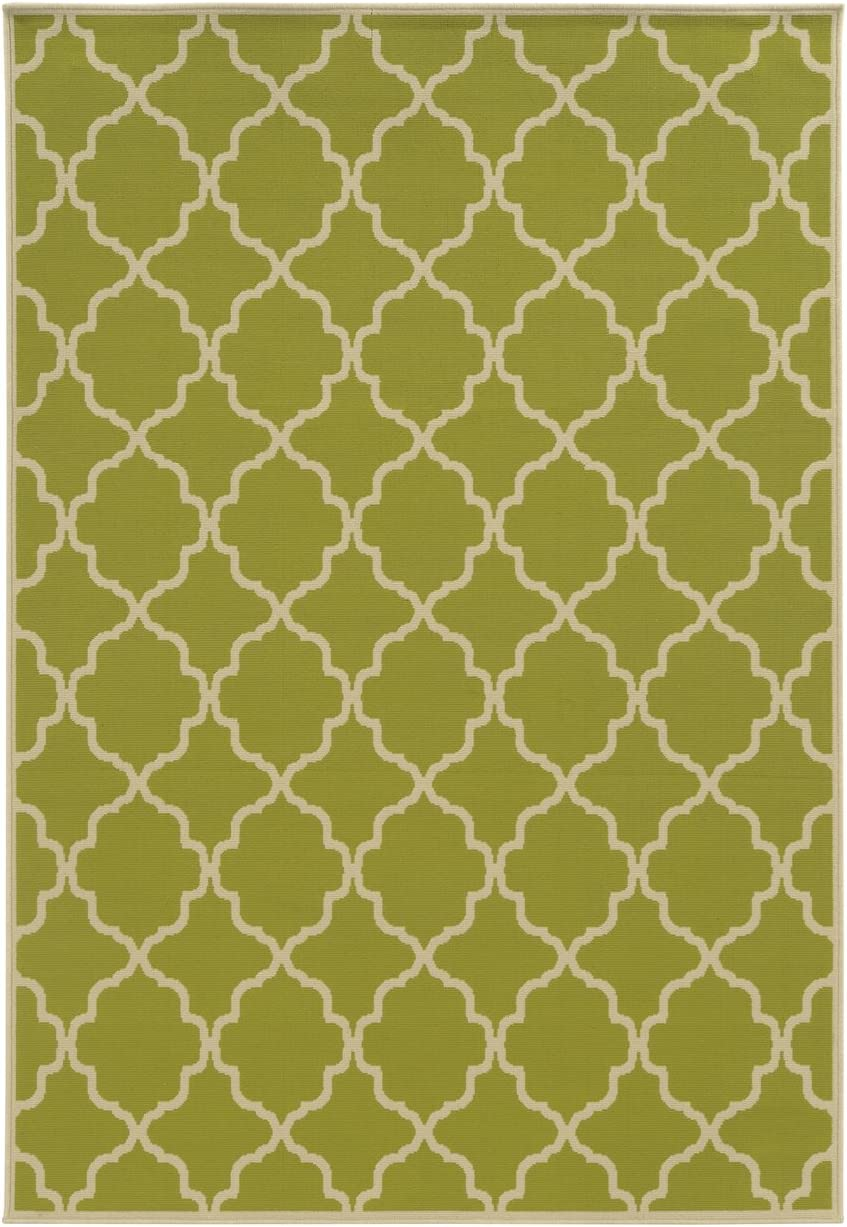 Riviera Outdoor Indoor Trellis Green 6 7 x 9 6 Oriental Weavers Sphinx Rug 4770M