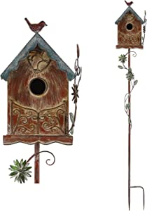 MOCOME Outdoor Metal Bird House Stake, Baroque House with Flower Design, Rustic Decorative Garden Stake Distressed Birdhouse for Outside, Yard(Brown)