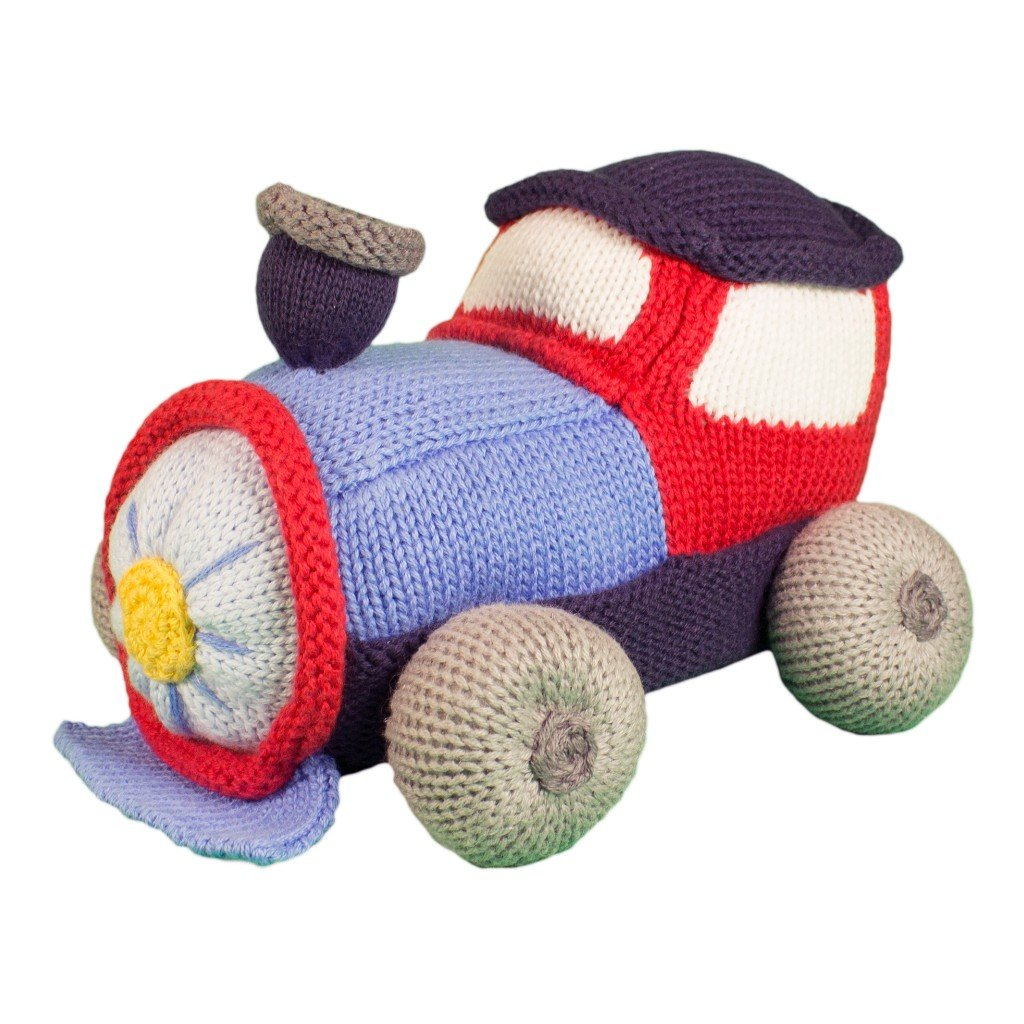 Zubels Baby Timmy The Train Hand-Knit Plush Rattle Toy, All-Natural Fibers, Eco-Friendly, 100 Cotton