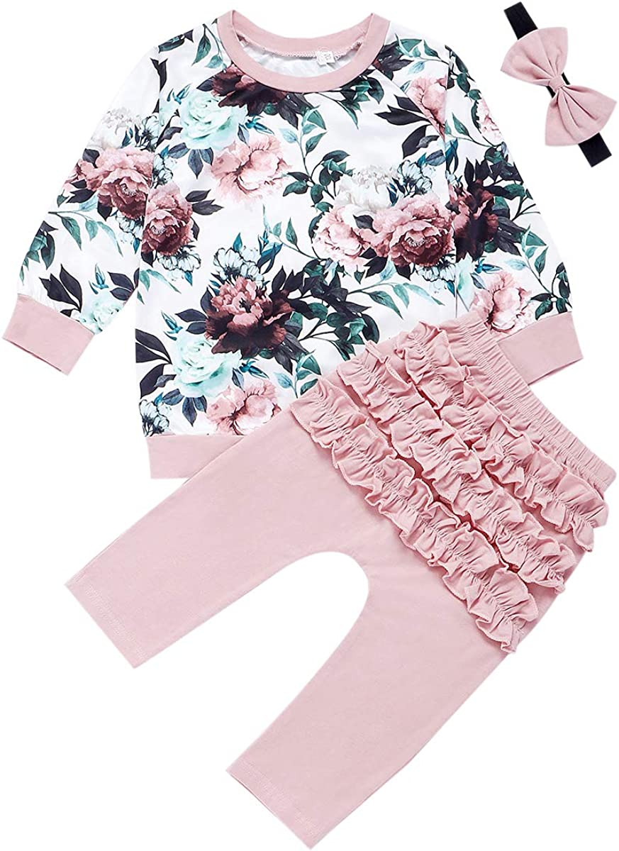 Bow Headband Pants Carolilly 3 Piece Set Baby Girl Baby Girl Jumpsuit Leopard Print Hoodie Long Sleeve T-Shirt White