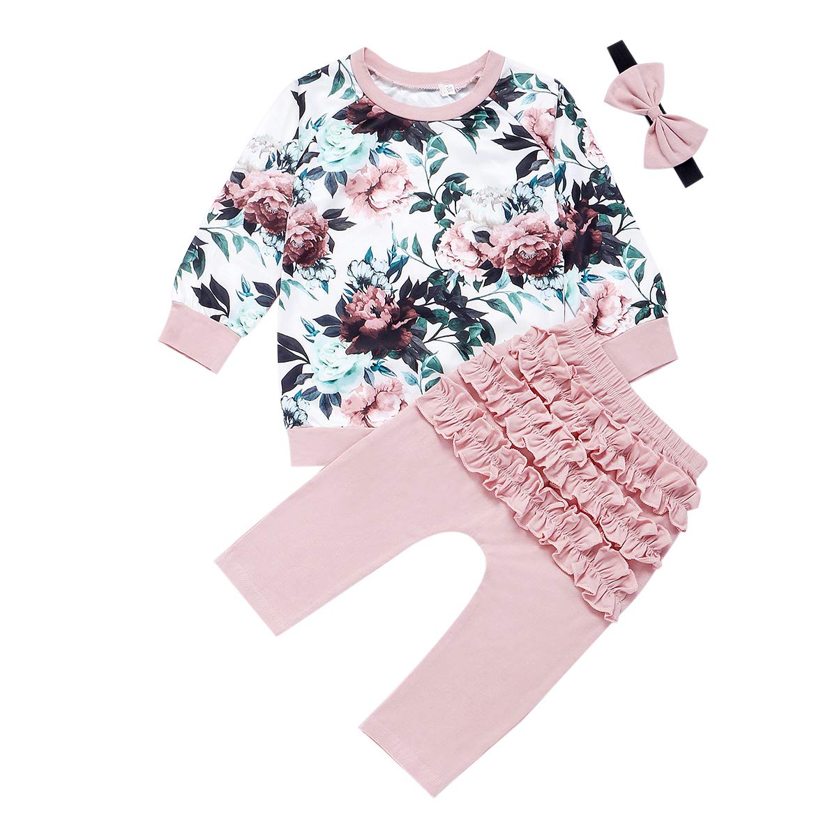 vpuquuz Toddler Baby Girl Clothes Floral Ruffle T-Shirt Long Sleeve Sweatshirt Tops Trouser Pants Headband 3Pcs Fall Winter Outfits Set