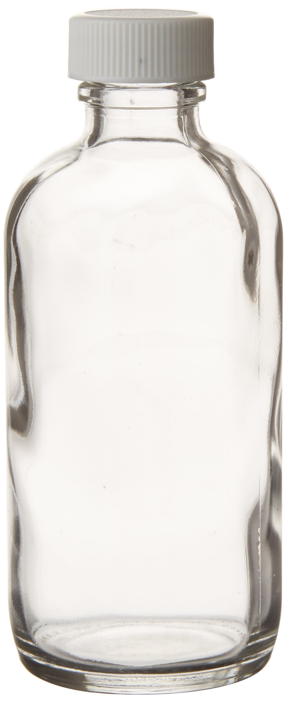 JG Finneran 9-172 Clear Borosilicate Glass Standard Boston Round Bottle with White Polypropylene Closure and 0.015'' PTFE Lined, 22-400mm Cap Size, 125mL Capacity (Pack of 24)