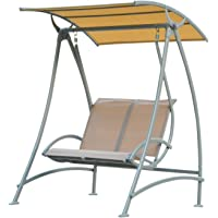 Outsunny 2 Seater Garden Swing Chair Lounger Seat Bench with Metal Frame and Sun Canopy Outdoor Hammock, Beige