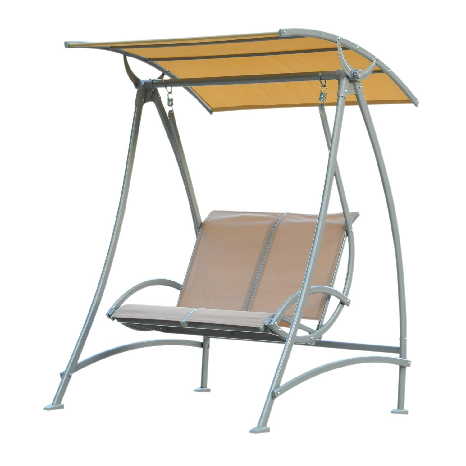 Outsunny 2 Seater Garden Swing Chair Lounger Seat Bench With Metal