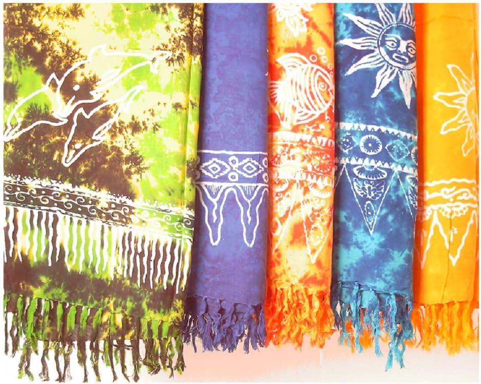 STAMPBATIK Sarong, toalla de playa, pareo, falda, varios colores ...