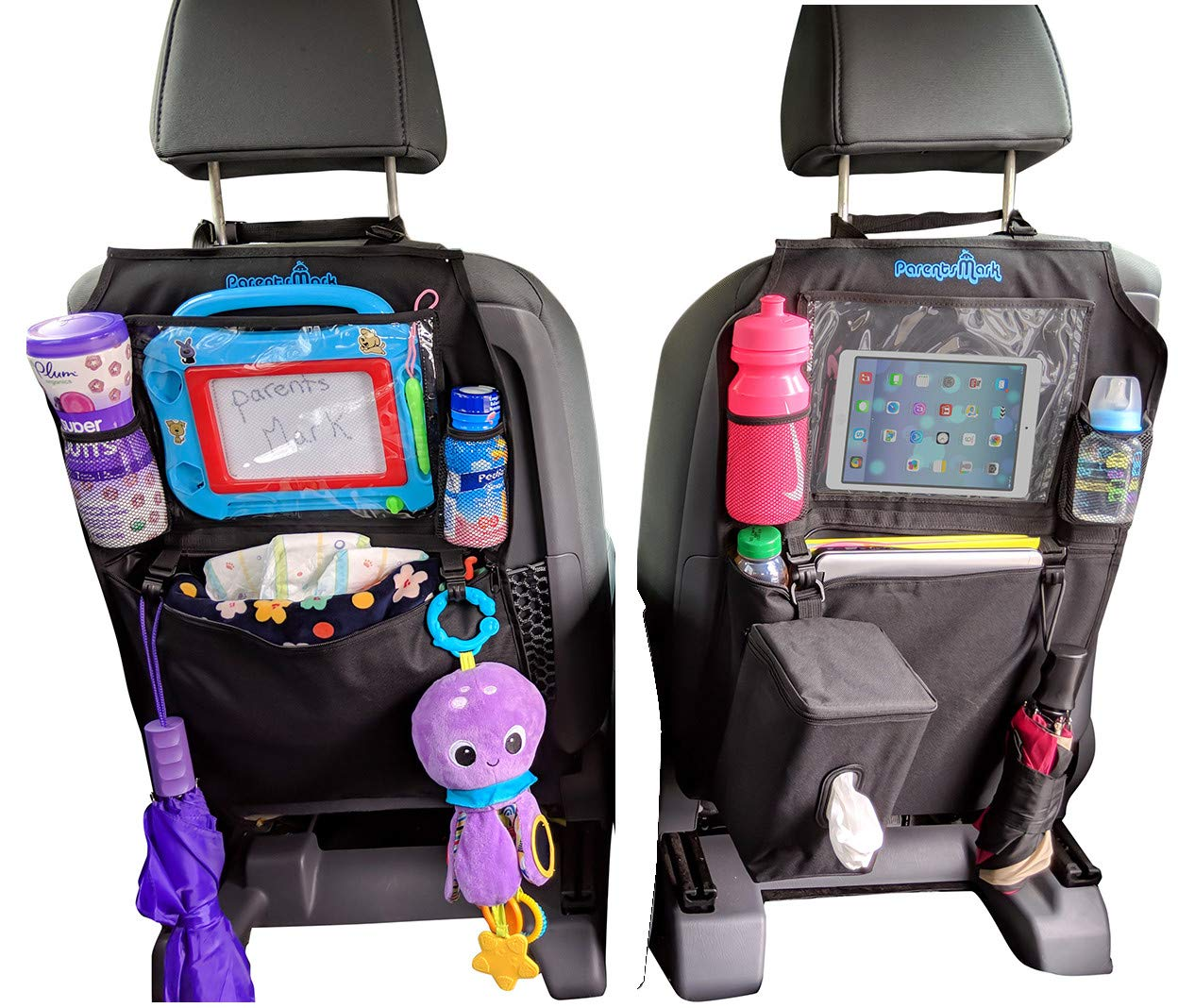 Kids Kick Mats Backseat Organizer by Parents Mark - 2 Pack Waterproof Universal Fit Car Protector - Storage Kicking Mat with Tissue Box - Multiple Pockets, Ipad and Tablet Holder for Toddler and Baby by Parents Mark