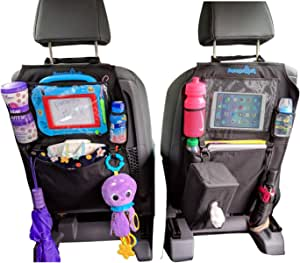 Kids Kick Mats Backseat Organizer by Parents Mark - 2 Pack Waterproof Universal Fit Car Protector - Storage Kicking Mat with Tissue Box - Multiple Pockets, Ipad and Tablet Holder for Toddler and Baby