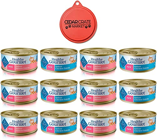 Blue Buffalo Cat Food Bundle Healthy Gourmet Indoor Wet Cat Food Variety Pack 2 Flavors Chicken Entree and Salmon Entree 12 Total Cans 5.5 oz Each Canned Cat Food with Can Topper
