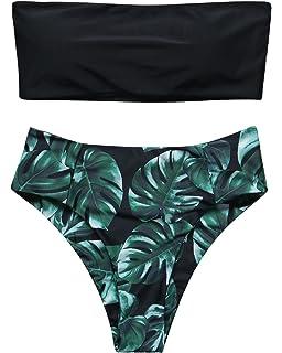 a0c89d24a78 RUUHEE Women High Cut Bandeau Tropical Leaf Printed Strapless Swimsuits  Bikini Set