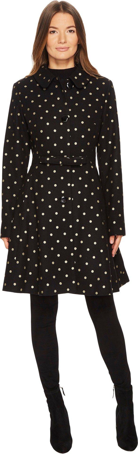 Kate Spade New York Womens Wool Novelties Glitter Polka Dot Peacoat Black Gold LG One Size