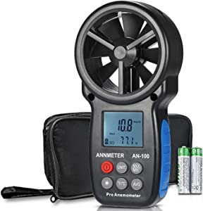 Digital Anemometer,Handheld Wind Speed Meter,Airflow Gauge Measures Wind Velocity Temperature (℃/℉) for HVAC CFM,Weather Tester with Wind Chill Backlight (ANNMETER AN-100)