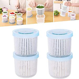 Fruits Vegetable Drain Storage Box-Double Layer Vegetables Sealed Keeper Refrigerator Food Fresh Storage Box with Drain Basket for Kitchen (4pcs)