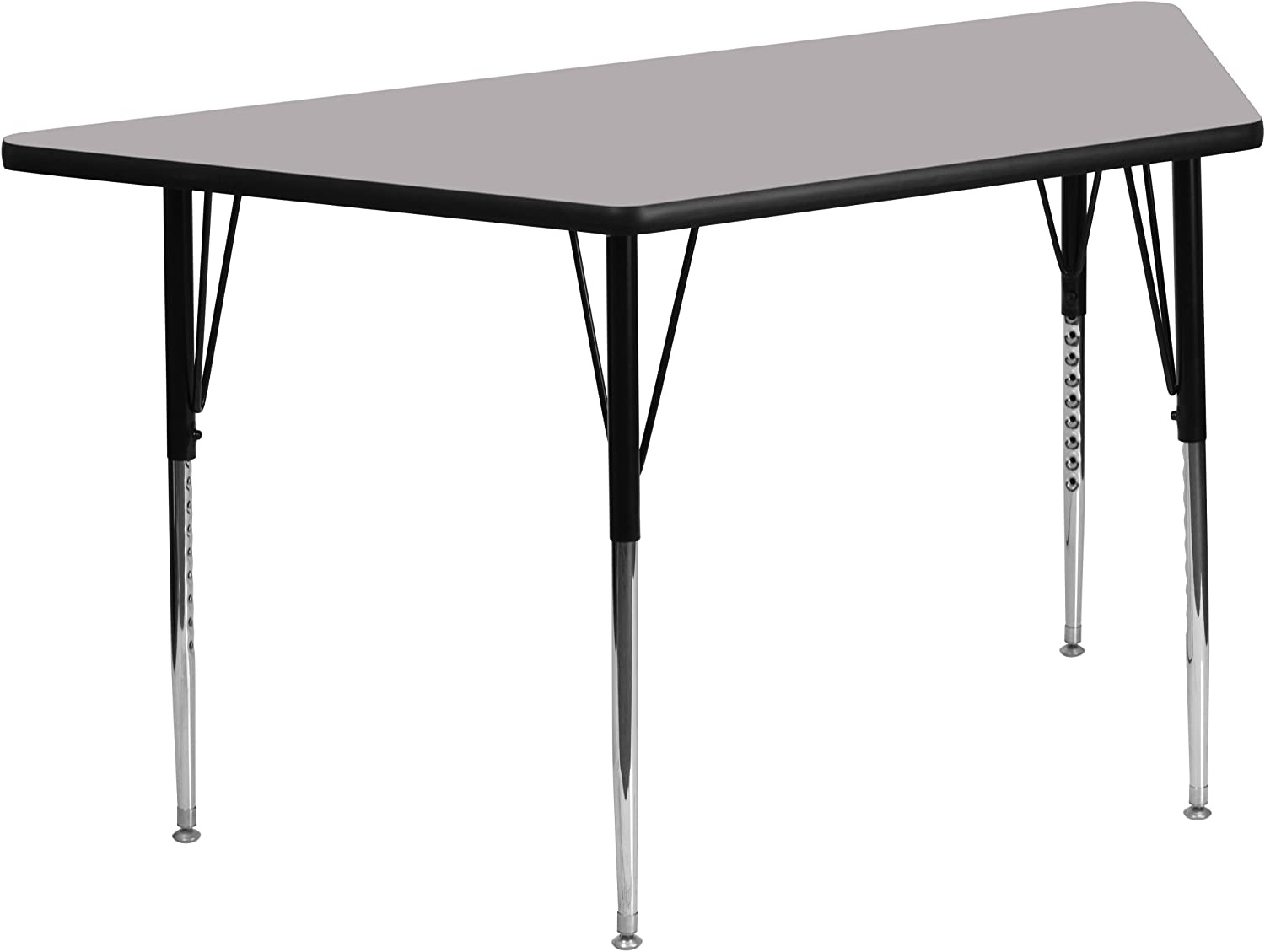 Flash Furniture 29.5''W x 57.25''L Trapezoid Grey Thermal Laminate Activity Table - Standard Height Adjustable Legs