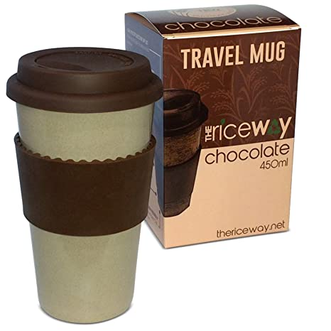 Eco Travel Chocolate Mug Vintage Style The Rice Way * Taza de café de Viaje Ecológica