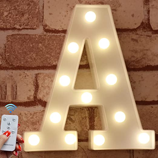 Pooqla LED Marquee Letter Lights Alphabet Light Up Signs with Wireless Timer Remote Control Dimmable for Wedding Home Party Bar Decoration - RC - A