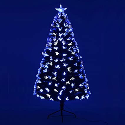 de82bd08fc357 Mr Crimbo Pre-Lit Christmas Tree Artificial Green Pine Spruce With Blue    White Fibre Optic Lights LED Star Tree Topper Xmas Decoration Home Decor  6ft  ...