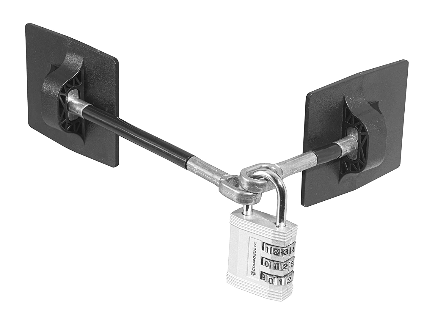 Refrigerator Door Lock with Combination Padlock - Black (Silver Combination Lock)