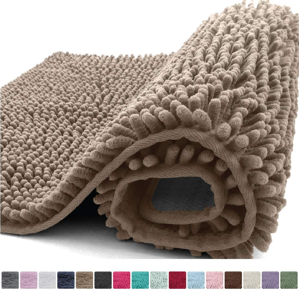 Kangaroo Plush Luxury Chenille Bath Rug, 30x20, Extra Soft and Absorbent Shaggy Bathroom Mat Rugs, Washable, Strong Underside, Plush Carpet Mats for Children's Tub Shower and Bath Room, Beige