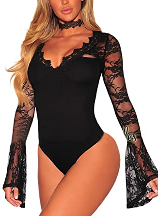 fbaf5999d8 Asvivid Women s Lace V-Neck Floral Bell Long Sleeves Sexy Bodysuit Stretchy  Leotard Top Small
