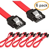 LINESO 6 Pack Straight SATA III Cable 6.0 Gbps 18 Inches (red)