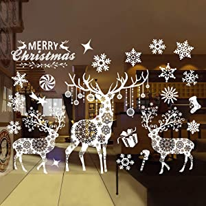 Christmas Decorations Snowflake Window Clings Ornaments,Removable DIY Window Door Xmas Reindeer &Snowflake Wall Sticker Wall Decals Christmas Party Holiday Home Decorations (Deer and Snowflake)