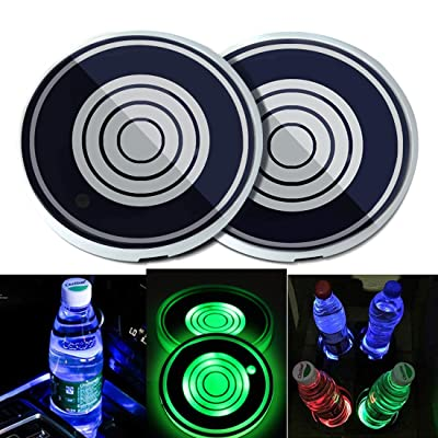 N / A 2PCS Universal LED Car Cup Holder Lights, Drinks Coaster Accessories Interior with 7 Colors Changing USB Charging Mat Luminescent Cup Pad, Auto Decoration Atmosphere Lights (Concentric Circles): Automotive