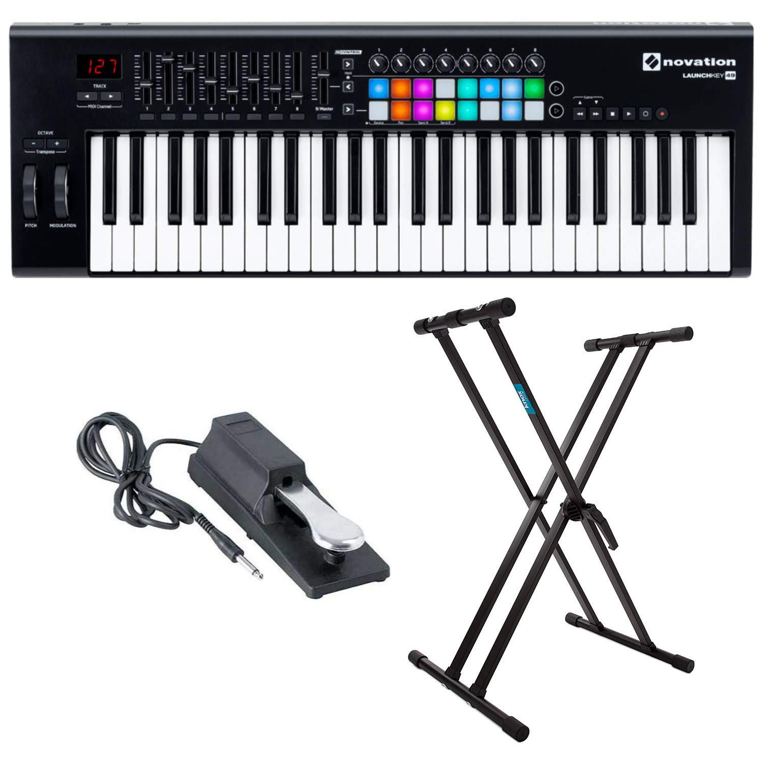 Novation Launchkey 49 MK2 Keyboard Controller with Knox Keyboard Stand and Sustain Pedal by Novation (Image #1)