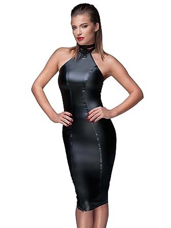 0f397ee3b56b Noir Wetlook Powerwetlook Pencil Dress Hook-On Collar Zipper Black   Amazon.co.uk  Clothing