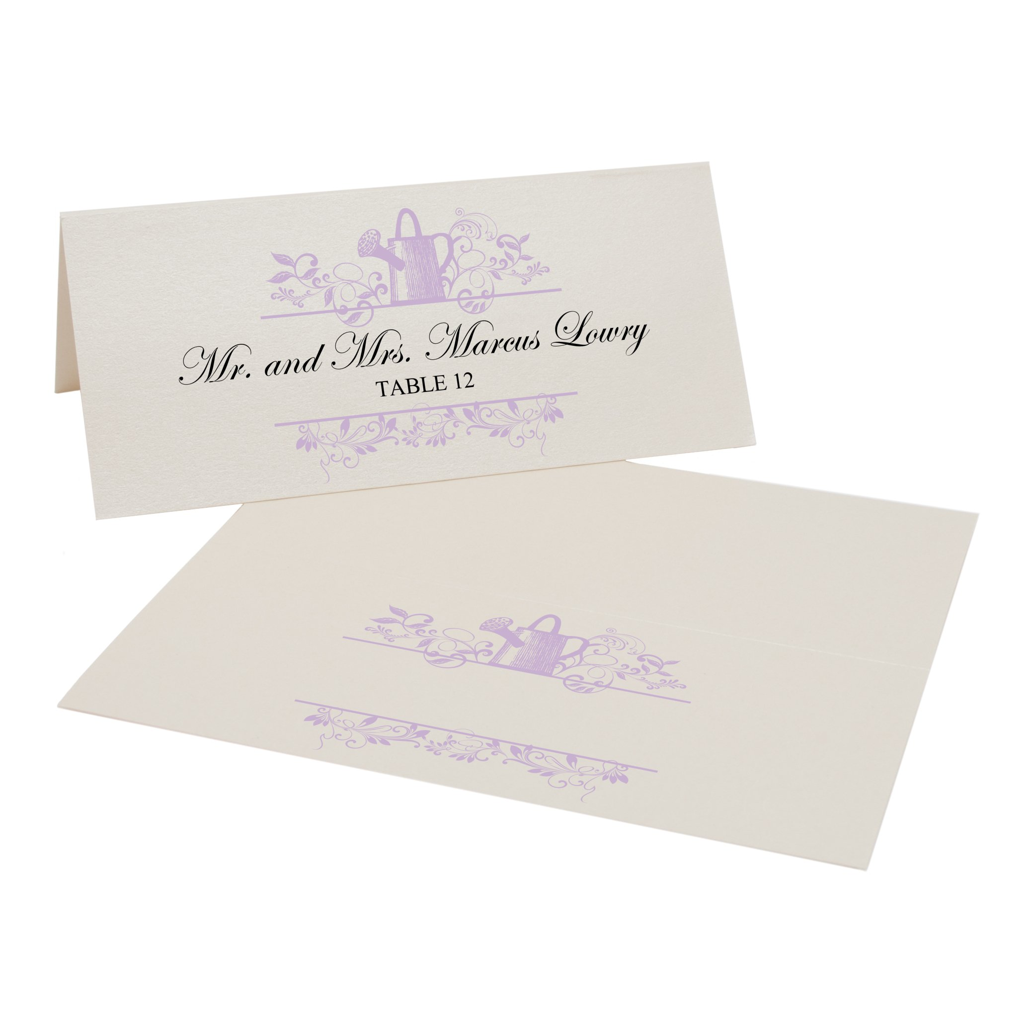 Vintage Garden Watering Can Easy Print Place Cards, Champagne, Lavender, Set of 450 (113 Sheets) by Documents and Designs
