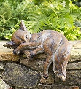 Wind & Weather Outdoor Sleeping Fox Sculpture Resin Lawn Garden Patio Animal Statue Decor Yard Art 17.25 L x 10.75 W x 15 H