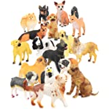 Set of 18 Large Deluxe Dog Figurines Toy Puppy Figures Canine Bulk Animal Variety Gift Pack (4-Inches)