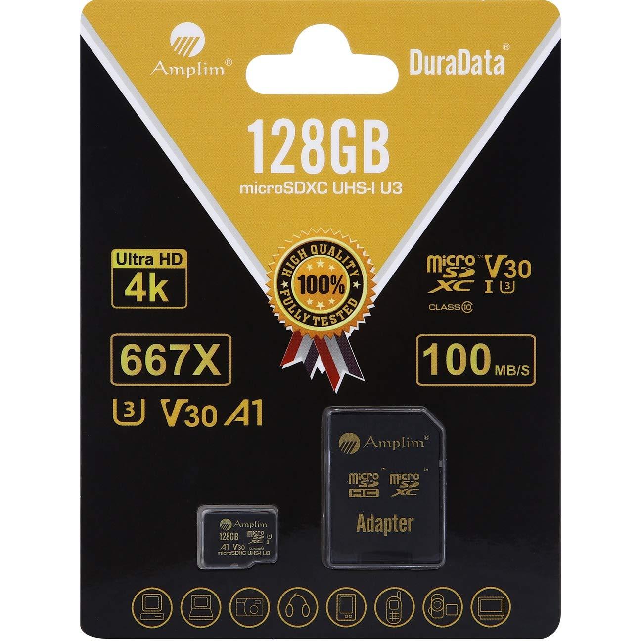 128GB Micro SD SDXC V30 A1 Memory Card Plus Adapter Pack (Class 10 U3 UHS-I Pro MicroSD XC) Amplim 128 GB Ultra High Speed 667X 100MB/s UHS-1 TF ...