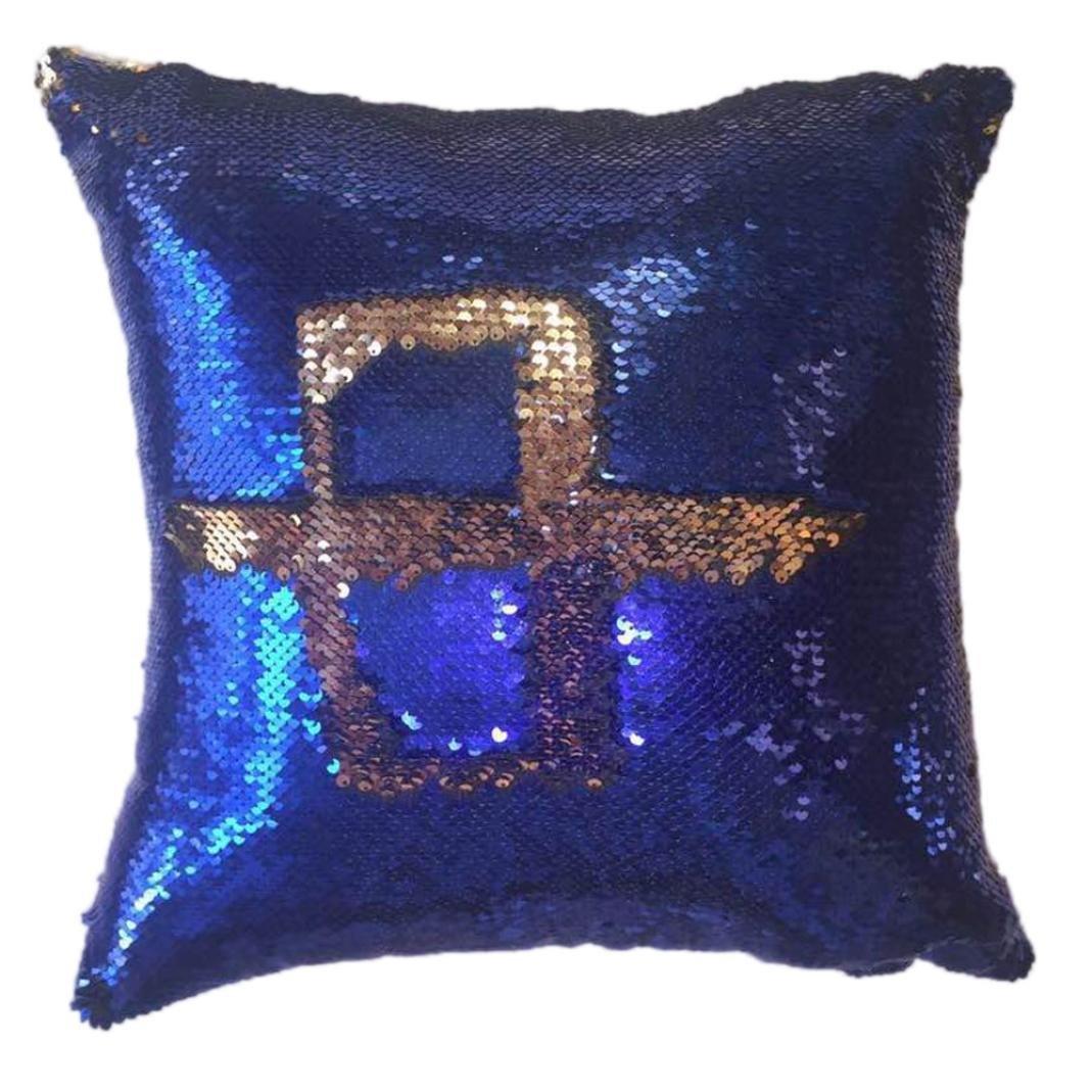 Cuscino di Christmas, Longra Copertura del cuscino di DIY del doppio Sequin Longra Copertura del cuscino di DIY del doppio Sequin (Blu)