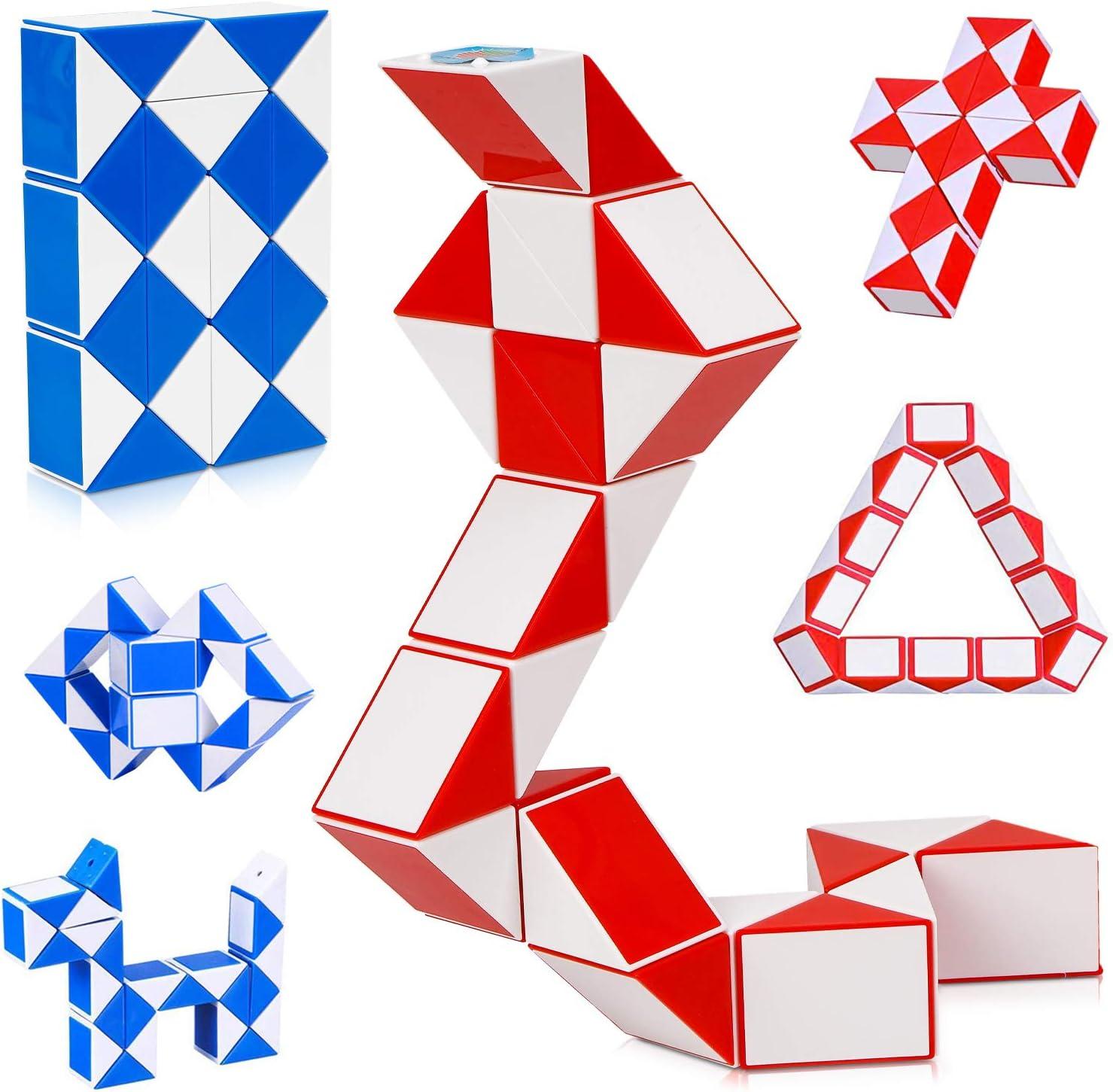 LOVEXIU Puzzle de Magia Serpiente,24 Bloques Juguetes de Rompecabezas de Snake 2Pcs,3D Magic Speed Cube Juego Twister,Cu/ñas Regla M/ágica Puzzle Educativos Toys para Ni/ños Fiestas Favores Llenadores
