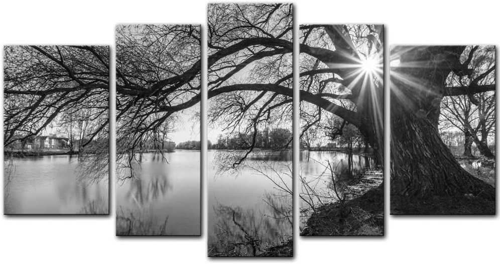 Black and White Tree 5 Pieces Modern Canvas Painting Wall Art The Picture for Home Decoration Black and White Silhouette in Sunrise Time Lake Landscape Print On Canvas Giclee Artwork for Wall Decor
