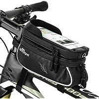 """WOTOW Bicicletas bolsa de teléfono celular, Bicicletas de montaje de teléfono de bicicleta, impermeable bicicleta frontal de la parte superior del tubo del manillar MTB ciclismo bolso con soporte de teléfono celular de pantalla táctil de TPU, se adapta a iphone7 8 Plus/XR/XS Max Samsung Huawei por debajo de 6,6 """""""