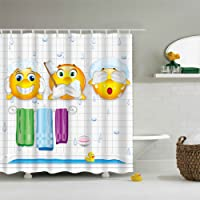 GWELL Rideaux de Douche Imperméable Emoji Expression Anti-moisissures pour Salle de Bain + 12 Anneaux 150x180 / 180x180 / 180x200 cm