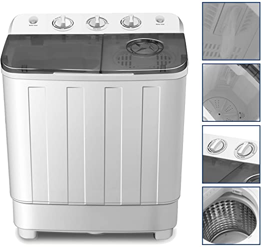 4-EVER Portable Washing Machine 17lbs Compact Twin Tub Washer and Dryer  Combo for Apartments,Dorms,RV\'s,College Rooms,Camping