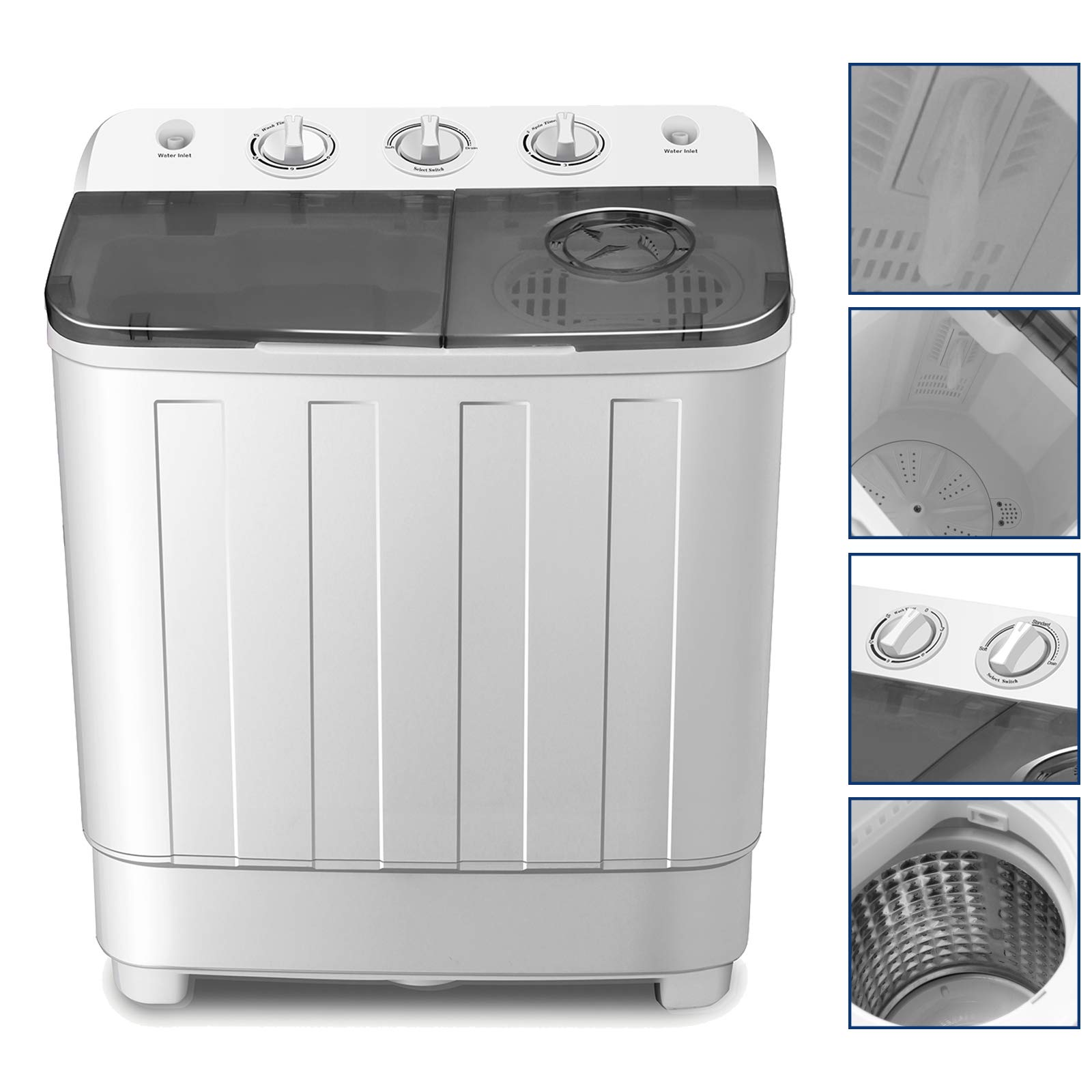 4-EVER Portable Mini Compact Washing Machine Twin Tub Washer and Spinner Dryer Combo 17lbs For Dorms Apartments RV's College Rooms Camping by 4-Ever