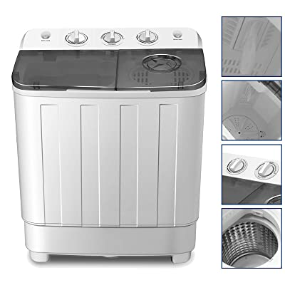 4-EVER Portable Mini Compact Washing Machine Twin Tub Washer and Spinner Dryer Combo 17lbs Dorms Apartments RV's College Rooms Camping