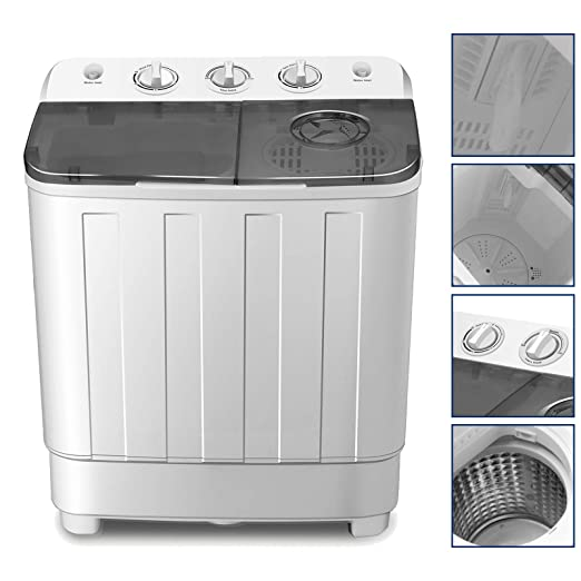4-EVER Portable Mini Compact Washing Machine Twin Tub Washer and Spinner  Dryer Combo 17lbs For Dorms Apartments RV\'s College Rooms Camping