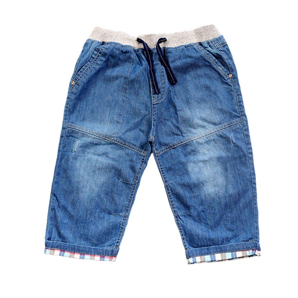 LvRao Baby Elastische Taille Denim Jeanshosen Kordelzug Karierte Shorts 3/4 Lä nge Fü r Kinder 160cm)