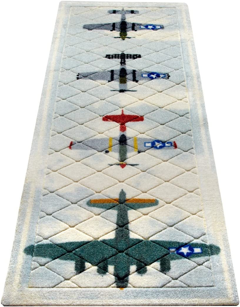 B-17 Bomber with P-51 Mustang Escort Airplane Hallway Plush Runner 64 Inches Long Airplane Decor