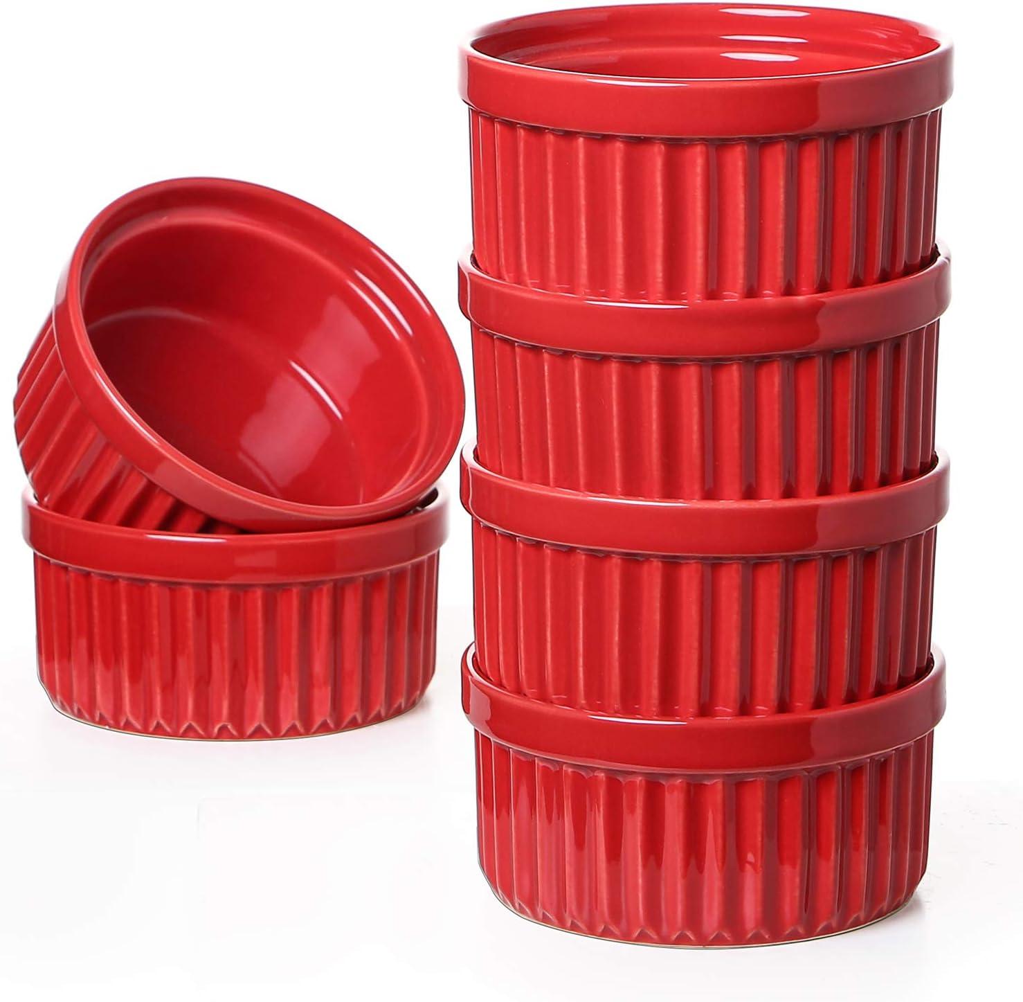 LE TAUCI 8 Oz Ramekins, Souffle Dishes, Ramekin Set for Creme Brulee, Set of 6, Oven Safe, True Red